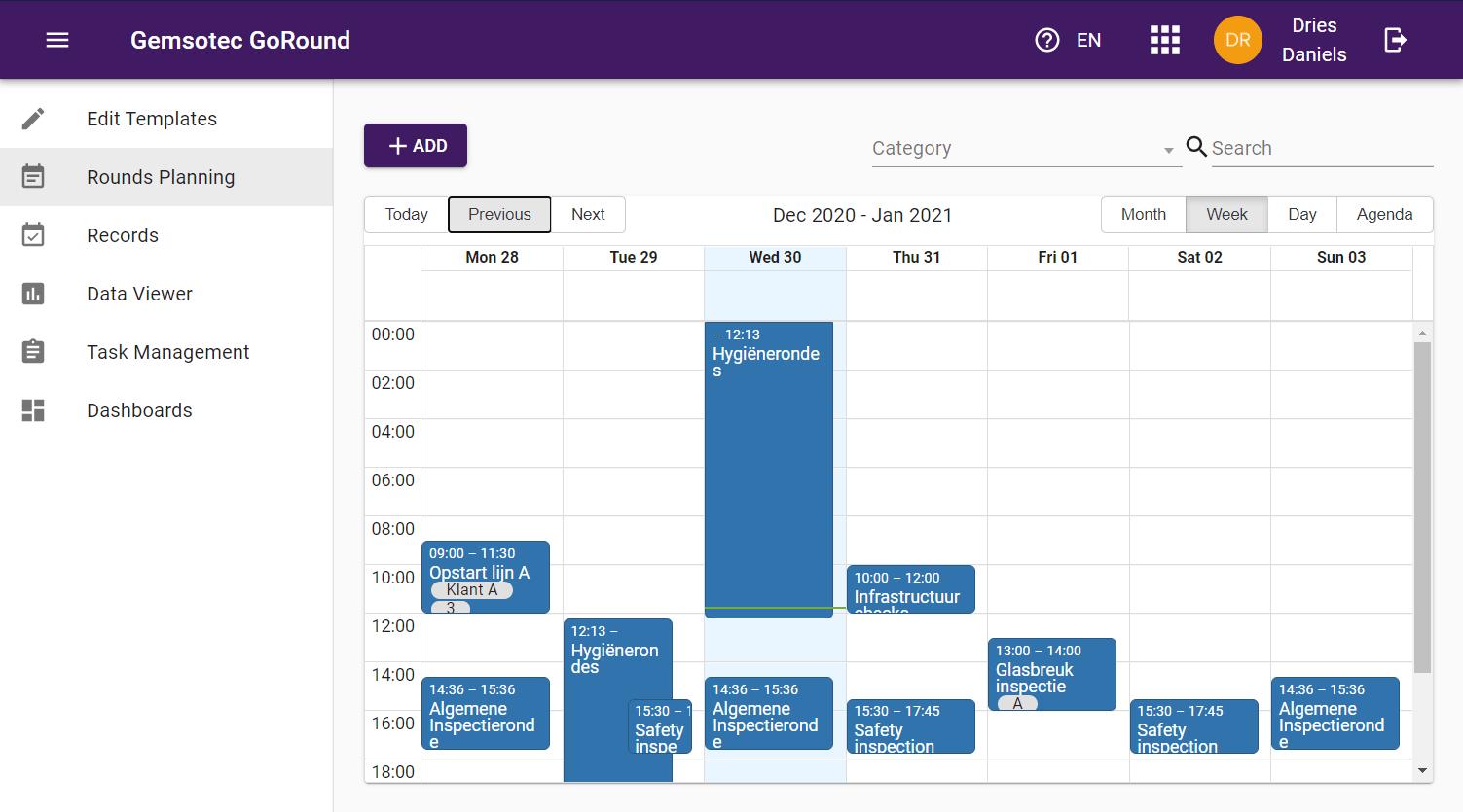Via de scheduling module kan je alles inplannen en toewijzen aan personen en assets.